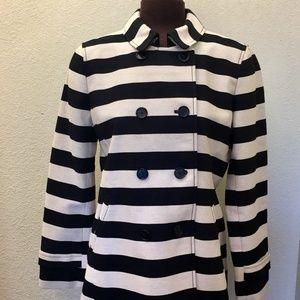 Ann Taylor Loft Black/Cream double breasted blazer